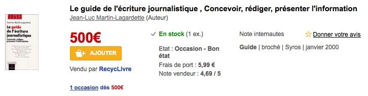Le site de la Fnac propose un exemplaire d'une ancienne édition, d'occasion, à 500 € !