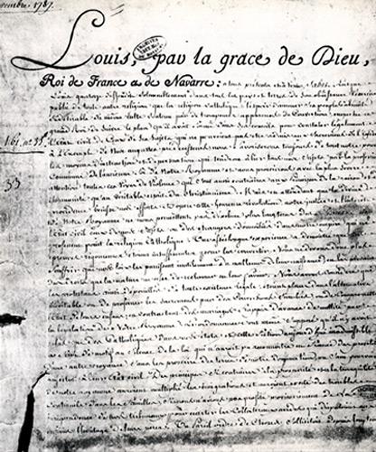 L'Edit de Tolérance, signé par Louis XVI deux années avant la Déclaration des droits de l'homme.