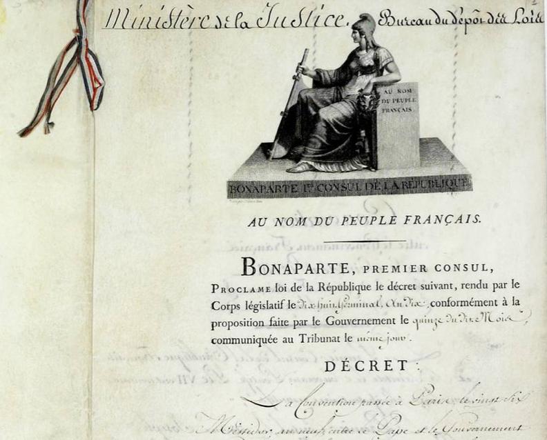 Loi du 18 germinal an X (8 avril 1802) approuvant le Concordat de 1801 et les articles organiques organisant en France les cultes catholique et protestants.