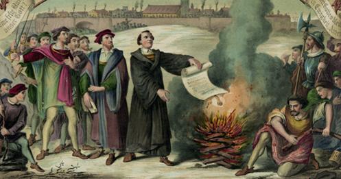 En 1520, Luther brûle la bulle papale qui l'excommunie.