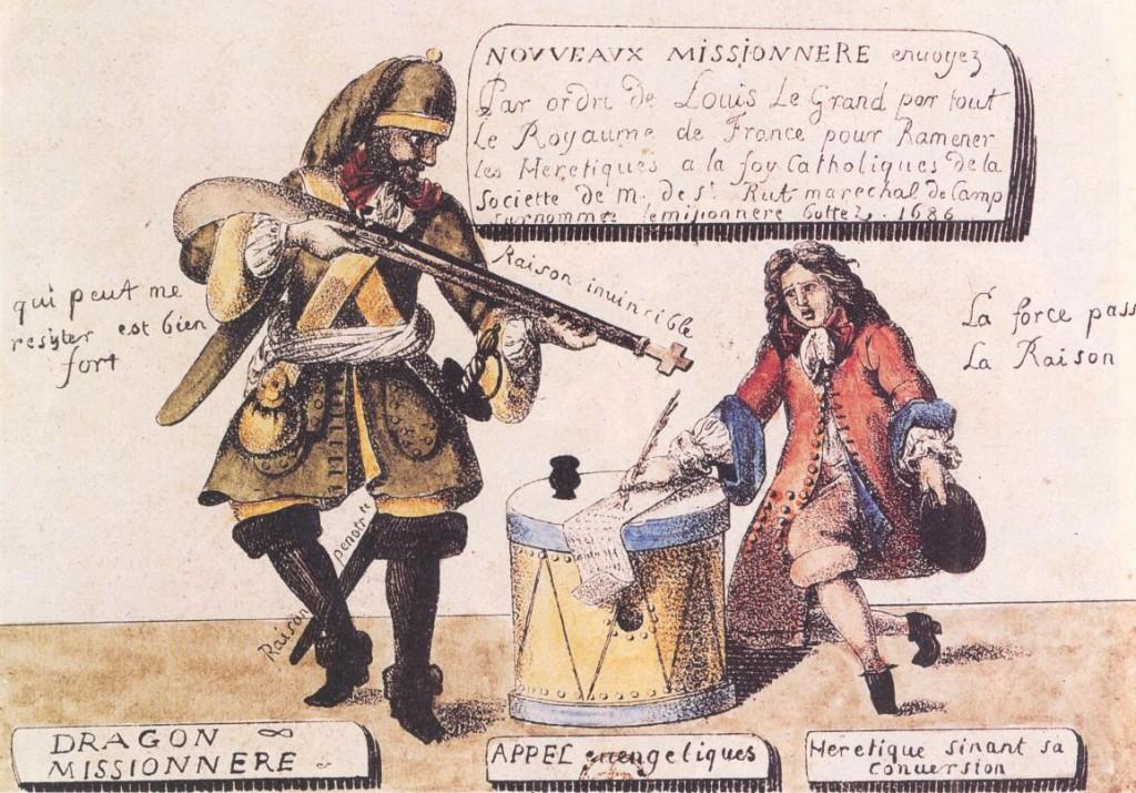 """""""Hérétique"""" protestant signant sa conversion après la révocation de l'édit de Nantes par Louis XIV. Comme leur roi, les Français acceptent mal que deux religions puissent cohabiter dans leur pays."""