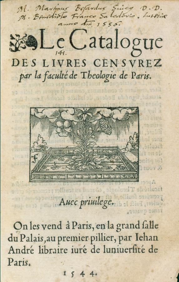Le premier de tous les index des livres interdits est publié en 1544 par la Faculté de théologie de l'Université de Paris.