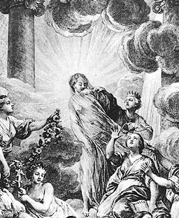 Fragment du frontispice de l'Encyclopédie de Diderot et D'Alembert: on y voit la Vérité rayonnante de lumière; à droite, la Raison et la Philosophie lui arrachent son voile.