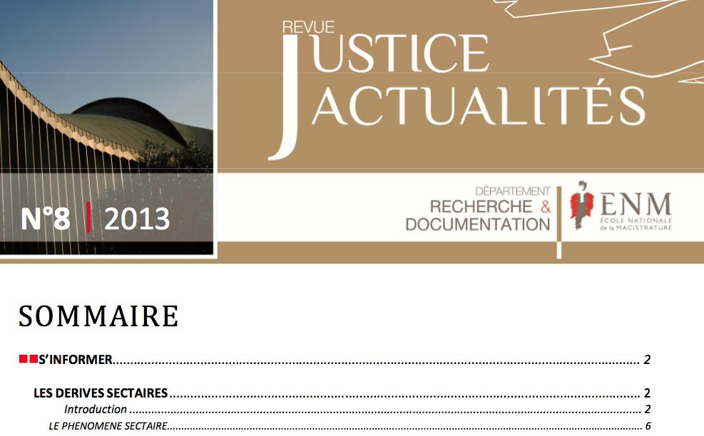 """Ce n° du département Recherche & Documentation de l'ENM est consacré au thème des """"dérives sectaires"""" en lien avec le droit et la justice."""