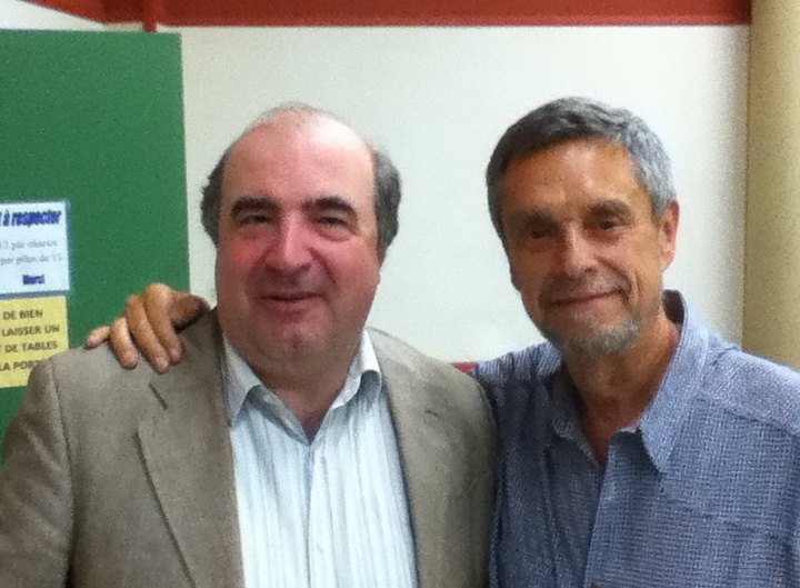 Jean Staune et votre serviteur après sa conférence au Donjon.