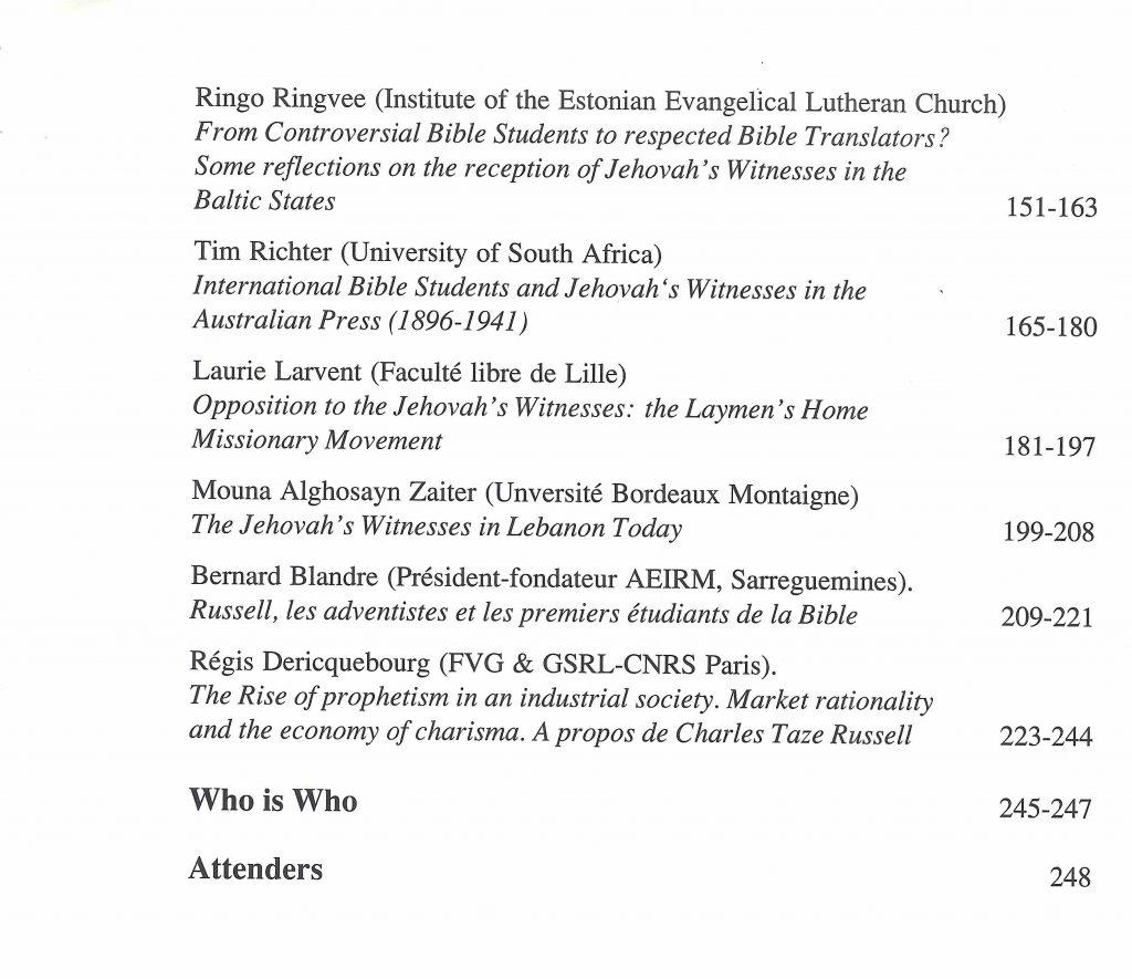 Table matières Acta 2